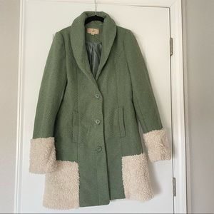 Green with White Trim Lost Button Coat